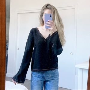 XXS Madewell Silk Stitched Tie-Back Top in Black